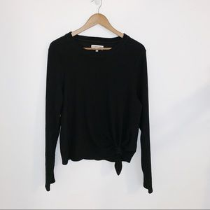 Madewell black long sleeve ribbed front knot shirt